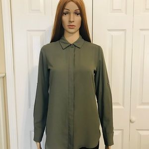 Mossimo Olive Green Button Down Shirt - XS
